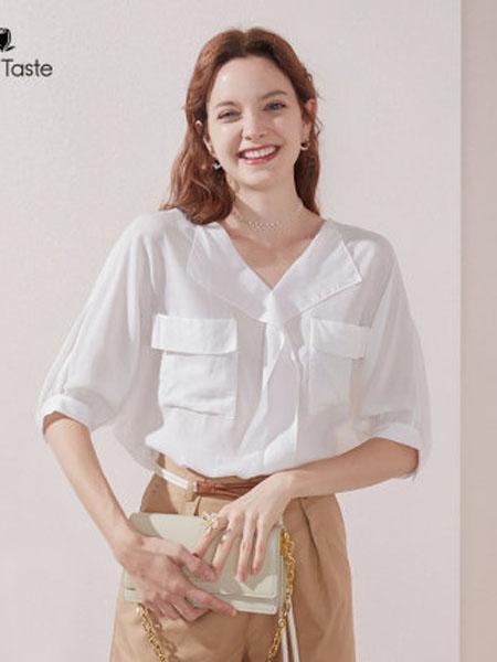郁香菲女装品牌2020春夏V领五分袖宽松衬衫女透气百搭遮肉显瘦上衣
