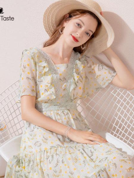 郁香菲女装品牌2020春夏小方领蕾丝拼接碎花连衣裙飘逸田园风雪纺裙