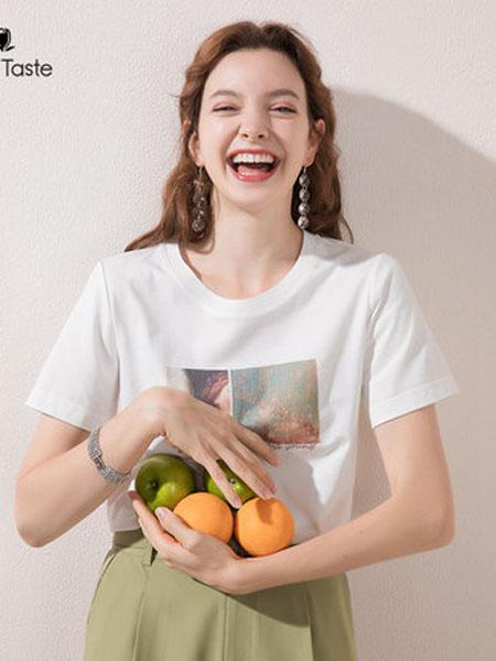 郁香菲女装品牌2020春夏创意印花圆领短袖t恤女宽松简约百搭短袖上衣