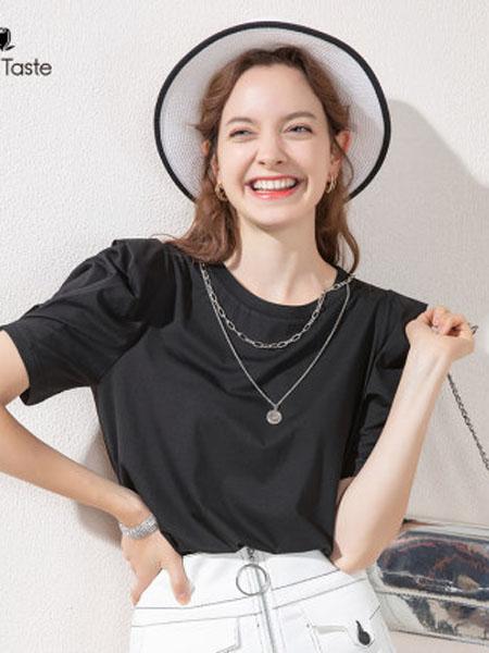 郁香菲女装品牌2020春夏复古锁泡泡袖上衣设计感小众短袖圆领T恤女