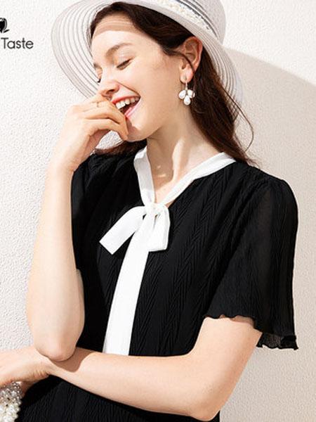 郁香菲女装品牌2020春夏撞色蝴蝶结连衣裙中长款肌理感简约女裙