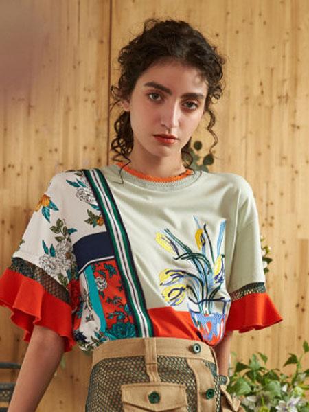 米可芭娜女装品牌2020春夏棉质吸汗卫衣女植物花卉创意圆领空调衫2020年夏季新款