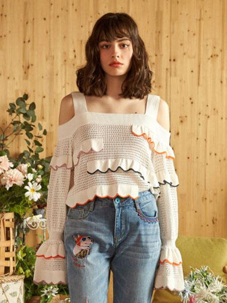 米可芭娜女装品牌2020春夏镂空吊带毛针织衫薄款空调衫喇叭袖上衣2020年夏季新款