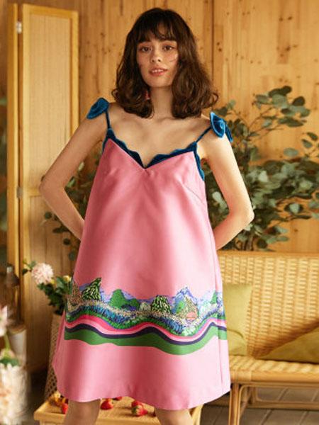 米可芭娜女装品牌2020春夏吊带印花绑带连衣裙松紧腰中长花色A字裙2020年夏季新款