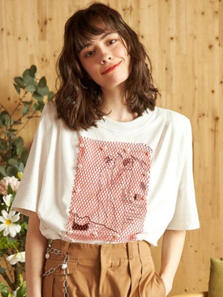 米可芭娜女装品牌2020春夏棉质短袖T恤印花人物创意ins潮网红上衣2020年夏季新款