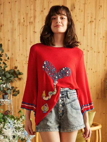米可芭娜女装品牌2020春夏花瓣袖毛针织衫红色温柔风薄款针织衫心形2020年夏季新款