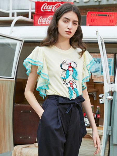 米可芭娜女装品牌2020春夏复古刺绣毛针织衫短袖花瓣袖女收身上衣T恤2020夏季新款