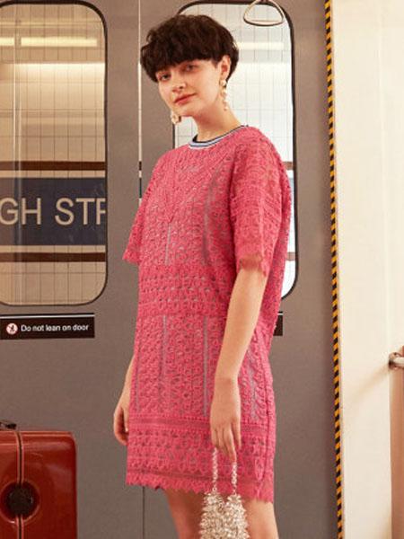米可芭娜女装品牌2020春夏小香风雪纺短袖连衣裙粉色镂空气质中长裙女2020夏季新款