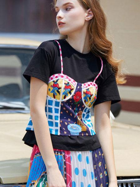 米可芭娜女装品牌2020春夏雪纺印花短袖T恤女ins潮宽松韩版拼接假两件2020夏季新款