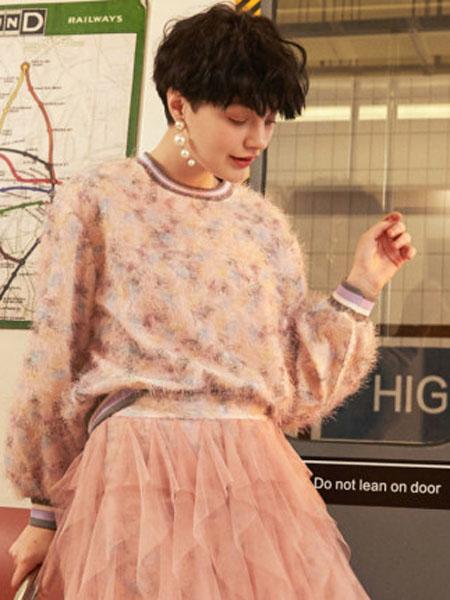米可芭娜女装品牌2020春夏套头卫衣女韩版宽松粉色花朵温柔海马毛上衣2020夏季新款