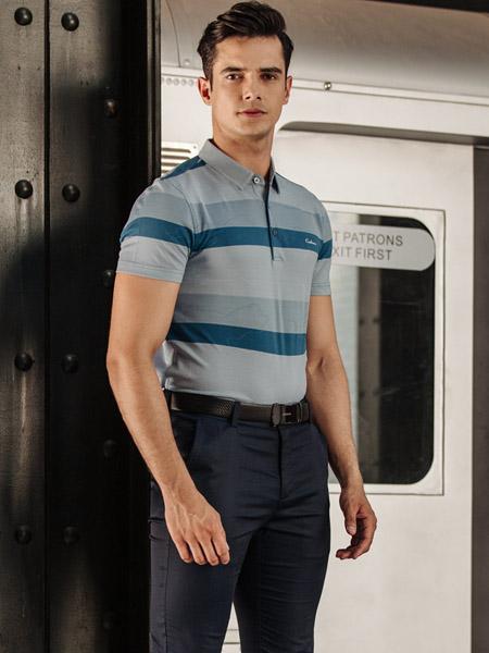 卡度尼男装品牌2020春夏灰色蓝色T恤