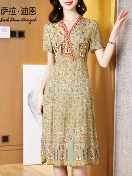 萨拉迪恩女装品牌2020春夏显瘦复古小碎花裙子真丝桑蚕丝连衣裙中长款