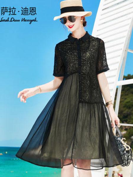 萨拉迪恩女装品牌2020春夏重工刺绣真丝连衣裙女短袖2020年新款夏季高档中长款桑蚕丝衬衫裙