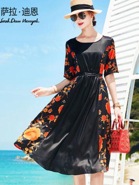 萨拉迪恩女装品牌2020春夏重磅真丝连衣裙女夏2020新款高档大牌印花中长款宽松桑蚕丝裙
