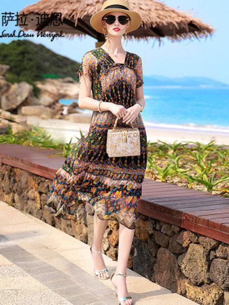 萨拉迪恩女装品牌2020春夏真丝连衣裙两件套2020新款夏季高档大牌碎花桑蚕丝中长款