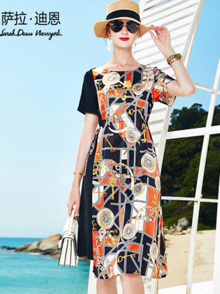 萨拉迪恩女装品牌2020春夏重磅真丝缎面连衣裙女2020新款夏大牌印花拼接宽松桑蚕丝裙