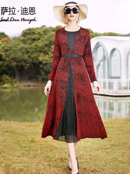 萨拉迪恩女装品牌2020春夏流行女装新款显瘦拼接红色贵夫人洋气高贵假两件连衣裙女长袖