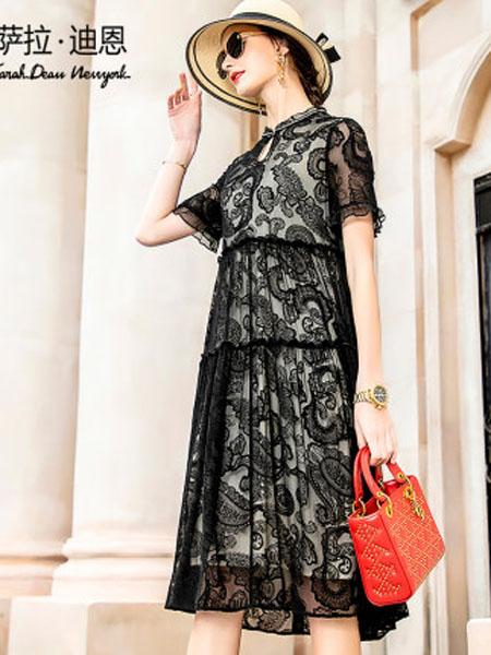 萨拉迪恩女装品牌2020春夏贵夫人黑色绣花桑蚕丝连衣裙夏2020年新款短袖女宽松中长款真丝裙