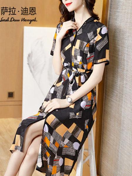 萨拉迪恩女装品牌2020春夏几何印花真丝连衣裙系带中长款短袖桑蚕丝衬衫裙