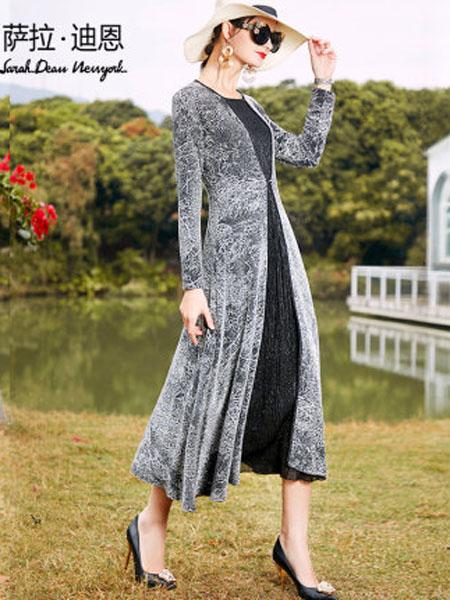 萨拉迪恩女装品牌2020春夏时尚银线亮丝贵夫人假两件连衣裙女长袖高端洋气长裙