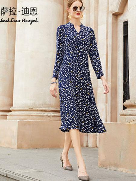 萨拉迪恩女装品牌2020春夏女时尚长款小鸟碎花长裙法式收腰典雅长袖连衣裙