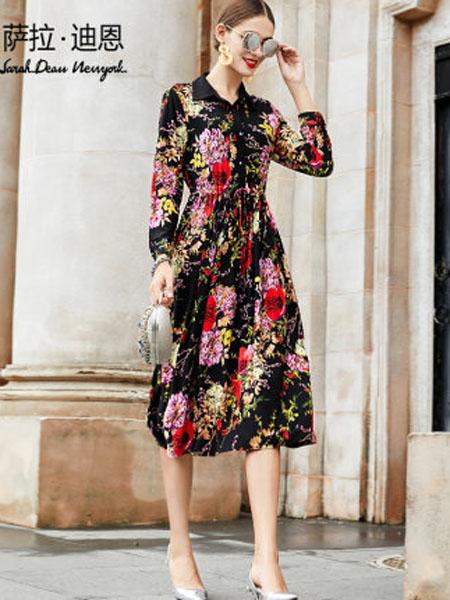 萨拉迪恩女装品牌2020春夏女气质法式收腰印花长袖连衣裙抽绳显瘦长款衬衫裙