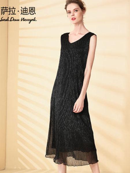 萨拉迪恩女装品牌2020春夏洋气无袖连衣裙女亮丝打底背心裙内搭v领气质长裙