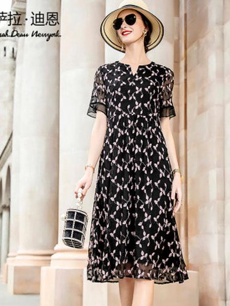 萨拉迪恩女装品牌2020春夏黑色绣花真丝连衣裙夏2020年新款短袖女洋气妈妈宽松桑蚕丝A字裙