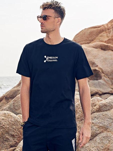 英爵伦男装品牌2020春夏潮流创意印花 圆领半截袖体恤上衣