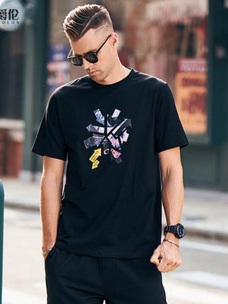 英爵伦男装品牌2020春夏短袖T恤 男士圆领印花打底体恤潮牌潮流