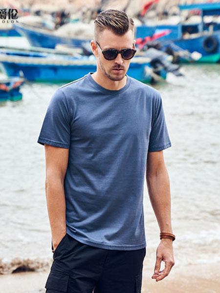 英爵伦男装品牌2020春夏青年休闲短袖T恤 欧美简约印花纯色半袖体恤