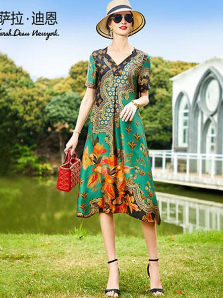 萨拉迪恩女装品牌2020春夏夏季女短袖时尚复古印花遮肚子长款宽松