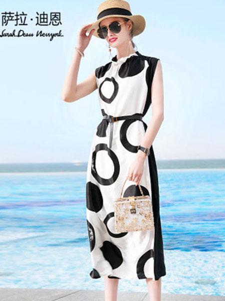 萨拉迪恩女装品牌2020春夏大牌无袖桑蚕丝长裙显瘦显高气质