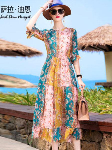 萨拉迪恩女装品牌2020春夏夏女宽松长款荷叶边真丝长裙