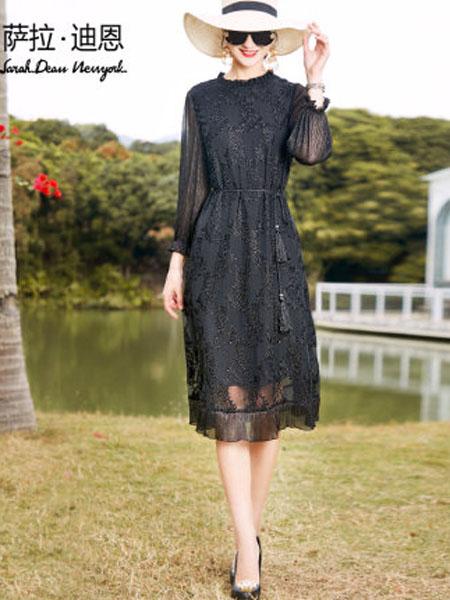 萨拉迪恩女装品牌2020春夏长袖典雅黑色真丝连衣裙宽松中长款绣花桑蚕丝裙子