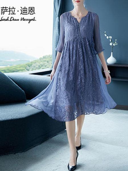 萨拉迪恩女装品牌2020春夏桑蚕丝绣花连衣裙春装2020年新款女法式中长款宽松V领纯色真丝裙