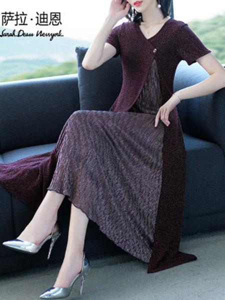 萨拉迪恩女装品牌2020春夏中年优雅南韩丝紫色长款贵妇人连衣裙阔太太短袖过膝