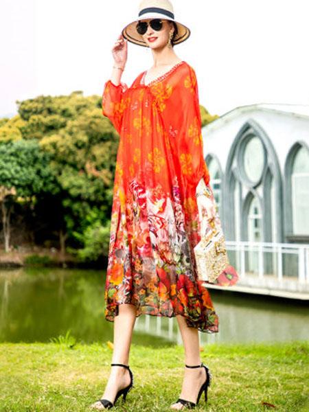 萨拉迪恩女装品牌2020春夏红色印花真丝桑蚕丝连衣裙春2020年新款海边度假两件套宽松沙滩裙
