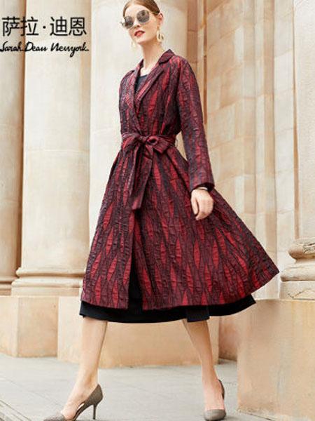 萨拉迪恩女装品牌2020春夏女装洋气欧美大牌长款过膝秋款外套西装领酒红色女风衣潮