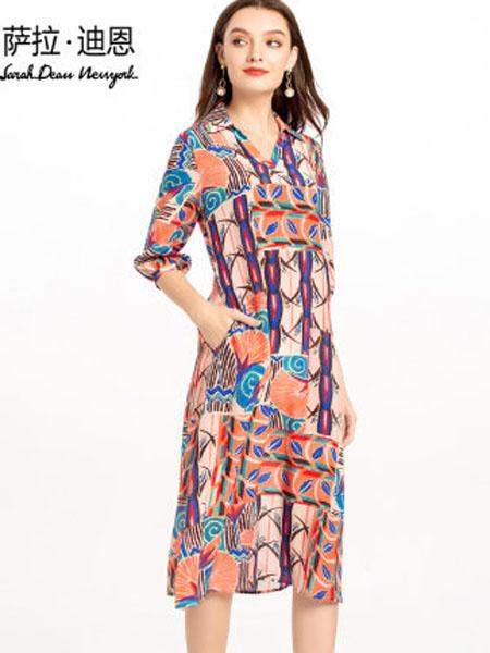 萨拉迪恩女装品牌2020春夏真丝双绉连衣裙女夏装2020年新款高档复古印花中款宽松桑蚕丝裙子