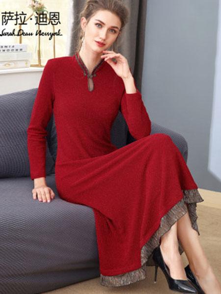 萨拉迪恩女装品牌2020春夏中国风红色旗袍改良版连衣裙2020春款女装洋气复古长袖针织亮丝裙