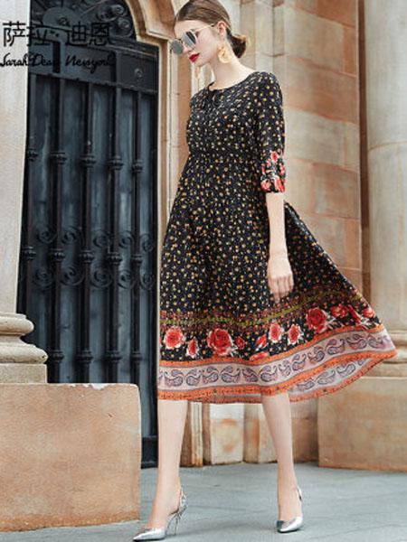 萨拉迪恩女装品牌2020春夏真丝双绉连衣裙女长款早春2020新款时尚圆领七分袖小碎花桑蚕丝裙