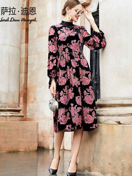 萨拉迪恩女装品牌2020春夏女装贵夫人高贵洋气宽松中长款显瘦遮肚减龄