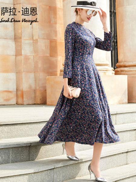 萨拉迪恩女装品牌2020春夏长袖连衣裙女2020流行女装新款复古法式春款长款气质大摆碎花长裙