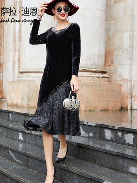 萨拉迪恩女装品牌2020春夏奢华烫钻复古裙法式长款典雅黑色长裙