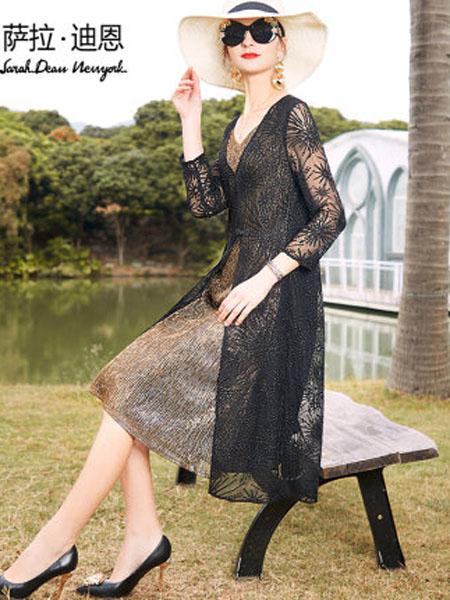 萨拉迪恩女装品牌2020春夏贵夫人典雅假两件桑蚕丝绣花连衣裙女中长款宽松真丝裙