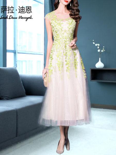 萨拉迪恩女装品牌2020春夏白色连衣裙夏款显瘦2020新款有女人味的网纱蕾丝刺绣内搭仙女裙