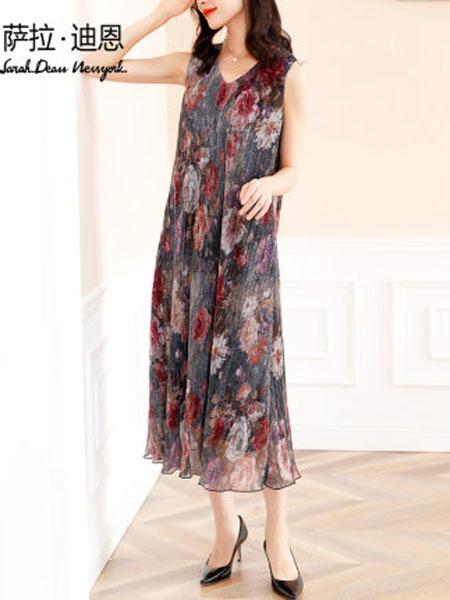 萨拉迪恩女装品牌2020春夏无袖连衣裙夏背心裙夏装2020新款气质V领雪纺长裙过膝长款印花裙