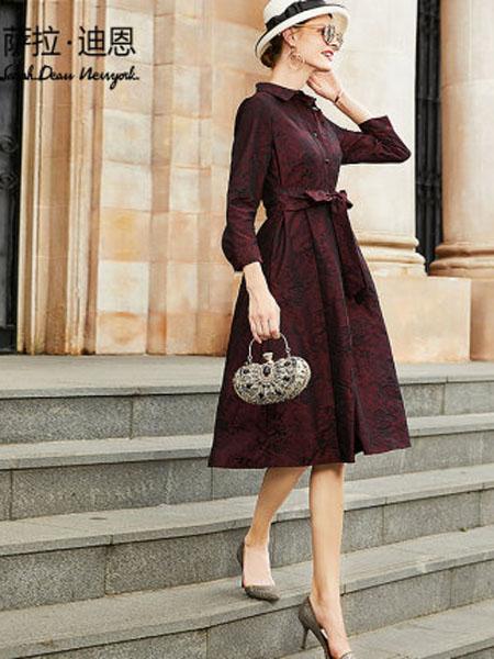萨拉迪恩女装品牌2020春夏女复古印花中长款系带显瘦A字裙