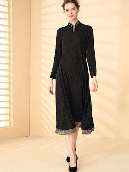 萨拉迪恩女装品牌2020春夏中国风黑色旗袍改良版连衣裙2020春款女装洋气复古长袖针织亮丝裙